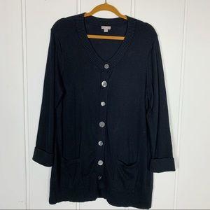 J. Jill Button Front Black Long Knit Cardigan